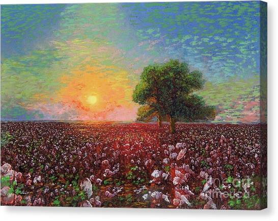 Turkeys Canvas Print - Cotton Field Sunset by Jane Small