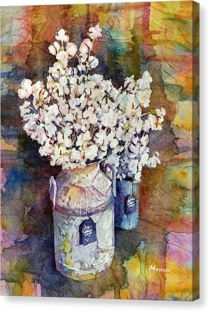 Branch Canvas Print - Cotton Stalks by Hailey E Herrera