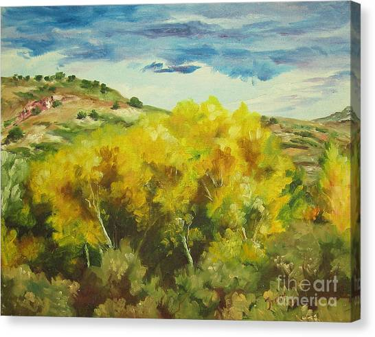 Cottonwoods Canvas Print by Theresa Higby