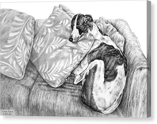 Couch Potato Greyhound Dog Print Canvas Print