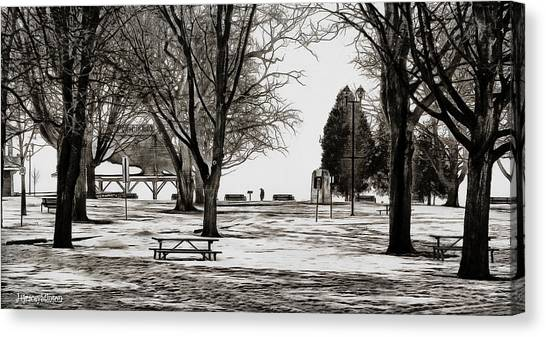 Couchiching Park In Pencil Canvas Print