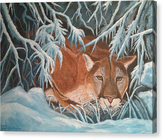 Cougar In Snow Canvas Print by Nick Gustafson