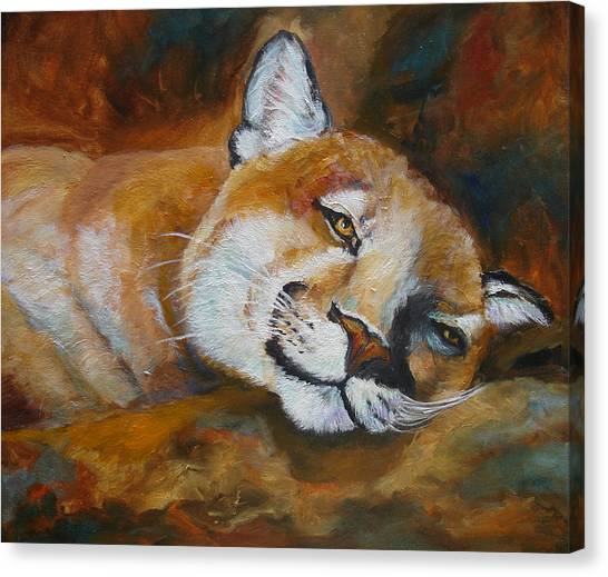 Cougar Wildlife Painting Canvas Print by Mary Jo Zorad