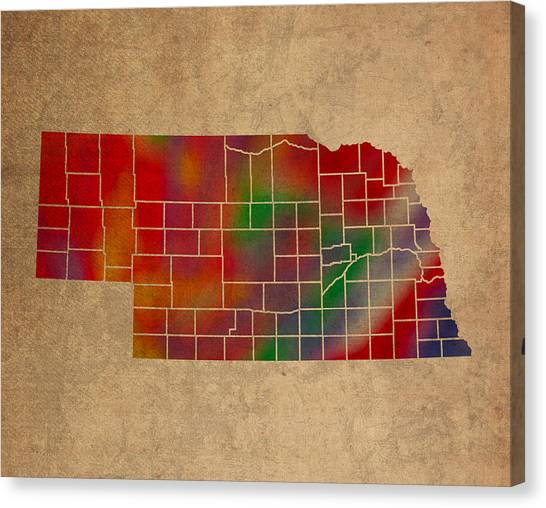 Nebraska Canvas Print - Counties Of Nebraska Colorful Vibrant Watercolor State Map On Old Canvas by Design Turnpike