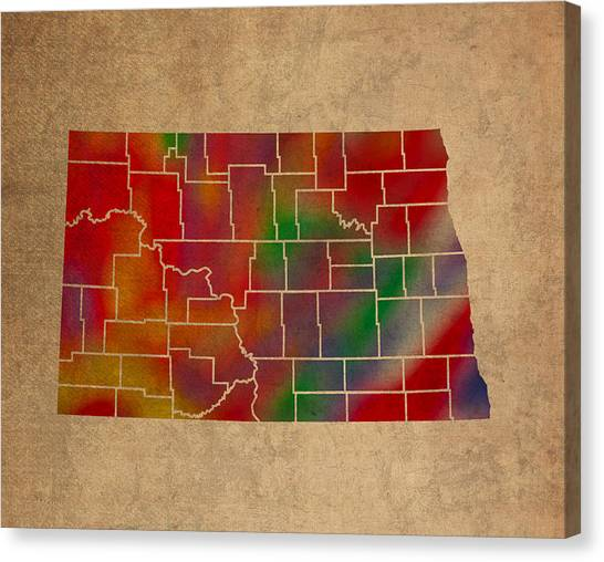 North Dakota Canvas Print - Counties Of North Dakota Colorful Vibrant Watercolor State Map On Old Canvas by Design Turnpike