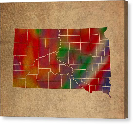 South Dakota Canvas Print - Counties Of South Dakota Colorful Vibrant Watercolor State Map On Old Canvas by Design Turnpike