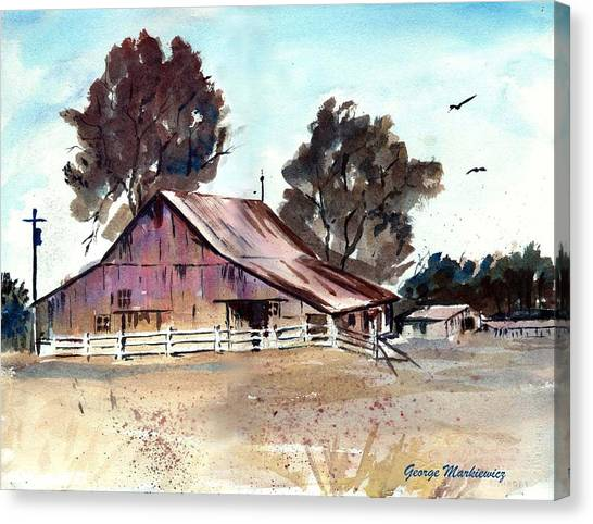 Country Barn Canvas Print by George Markiewicz