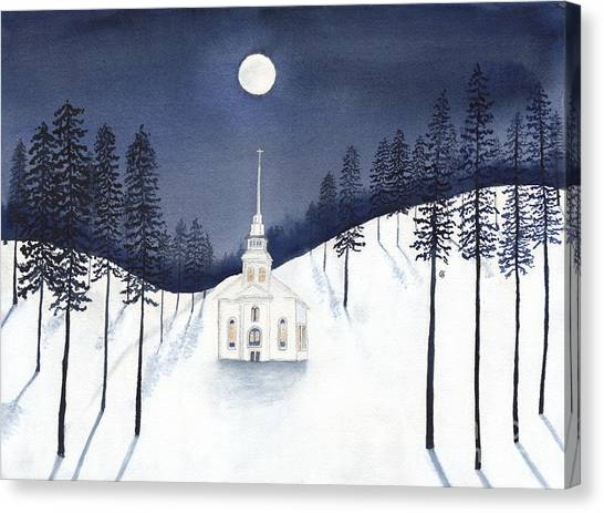 Country Church In Moonlight 2, Silent Night Canvas Print