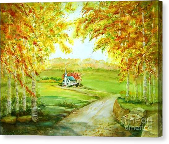 Country Church Canvas Print by Maryann Schigur