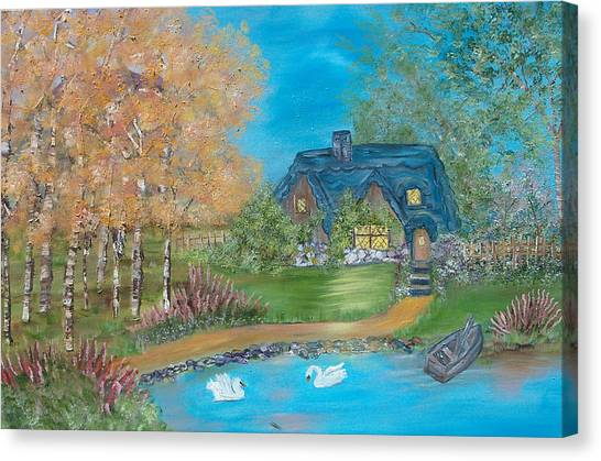 Country Cottage Canvas Print by Mikki Alhart
