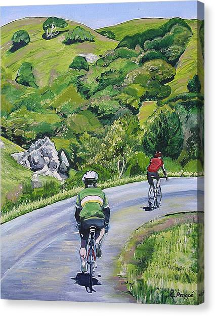 Country Cyclists Canvas Print by Colleen Proppe