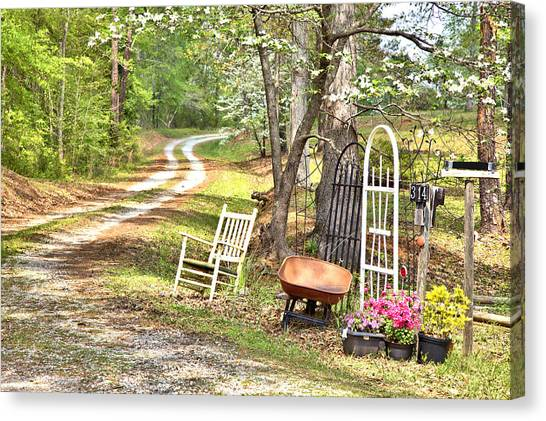 Country Driveway In Springtime Canvas Print