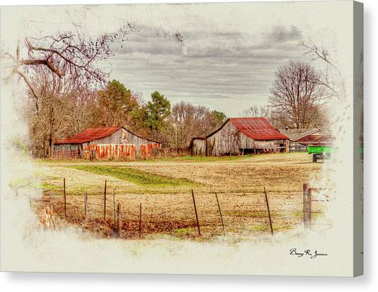 Canvas Print featuring the digital art Country Landscape by Barry Jones