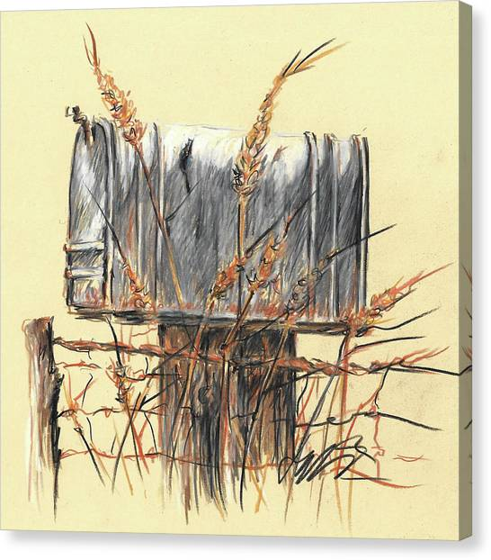 Country Mailbox In Colored Pencil Canvas Print