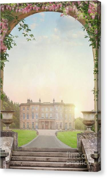 Country Mansion At Sunset Canvas Print