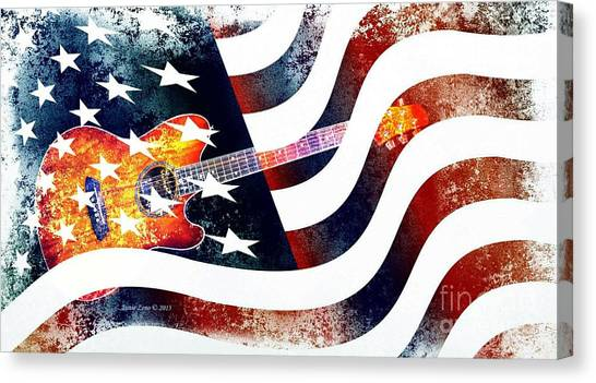 Country Music Guitar And American Flag Canvas Print