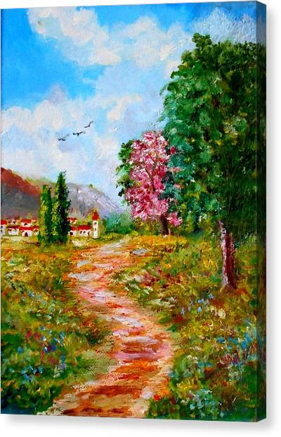 Country Pathway In Greece Canvas Print