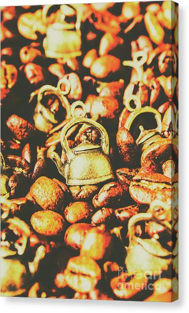 Caffeine Canvas Print - Country Pots And Coffee Beans by Jorgo Photography - Wall Art Gallery