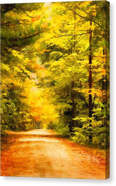 Country Road In Autumn Digital Art Canvas Print