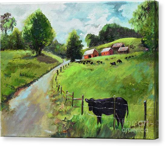 Canvas Print featuring the painting Country Roads Of Georgia- Ellijay Rural Scene by Jan Dappen