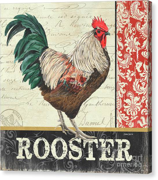 Roosters Canvas Print - Country Rooster 1 by Debbie DeWitt
