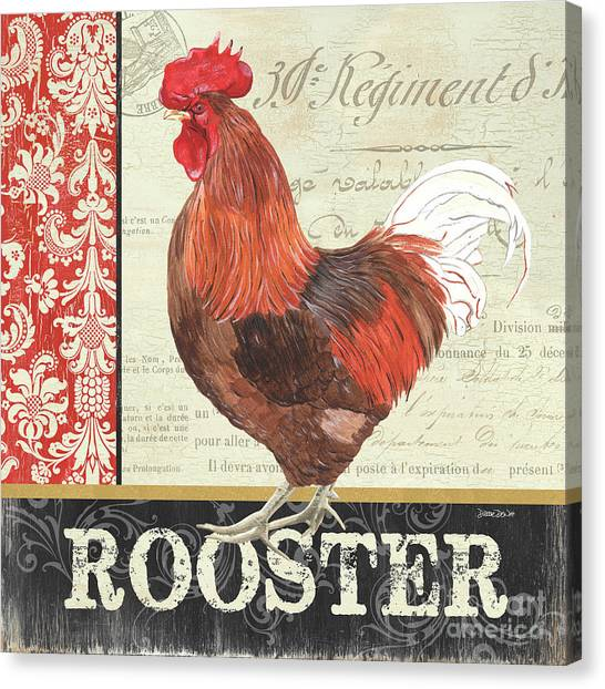 Roosters Canvas Print - Country Rooster 2 by Debbie DeWitt