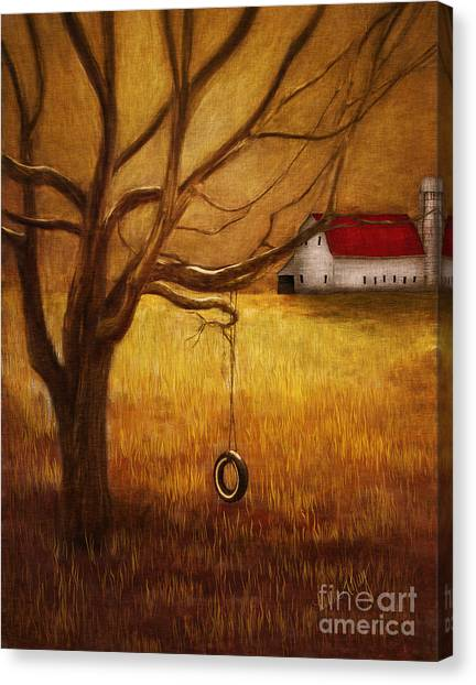 Linda King Canvas Print - Country Tire Swing by Linda King