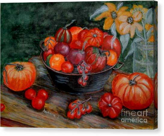 Country Tomatos Canvas Print by Barbara Oberholtzer