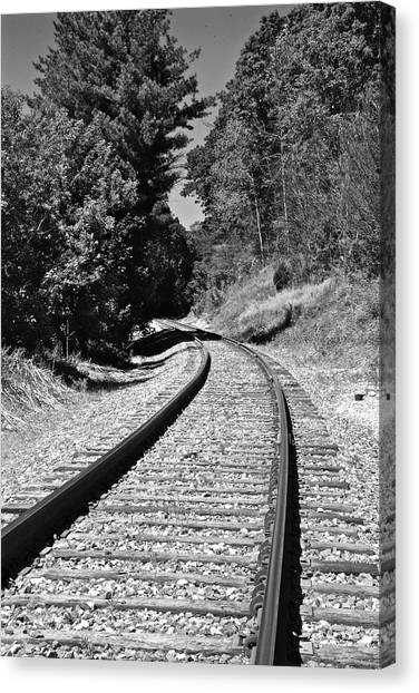 Country Tracks Black And White Canvas Print