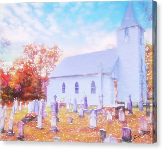 Country White Church And Old Cemetery. Canvas Print