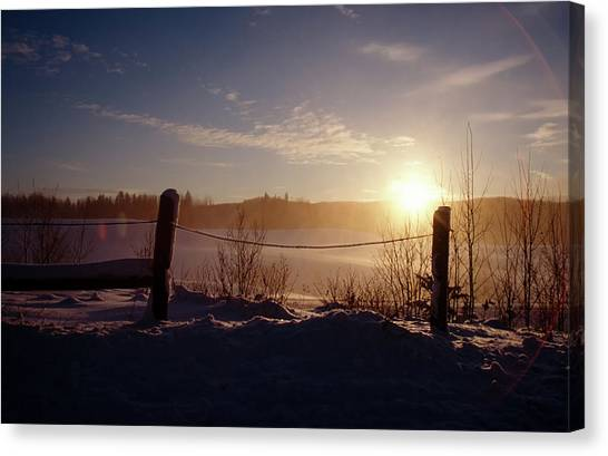 Country Winter Sunset Canvas Print