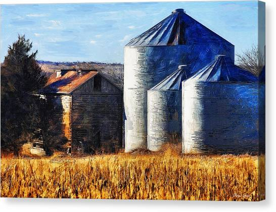 Countryside Old Barn And Silos Canvas Print