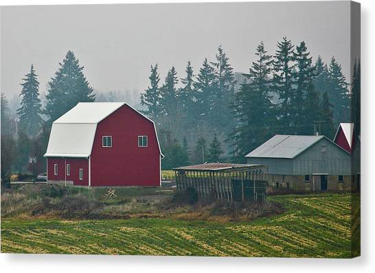 Countryside Red Barn Canvas Print by Liz Santie