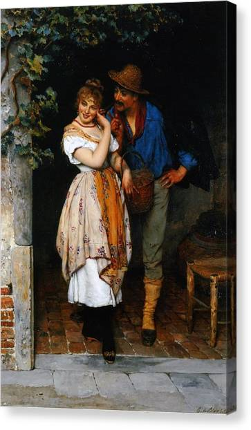 Couple Canvas Print - Couple Courting by Eugen von Blaas