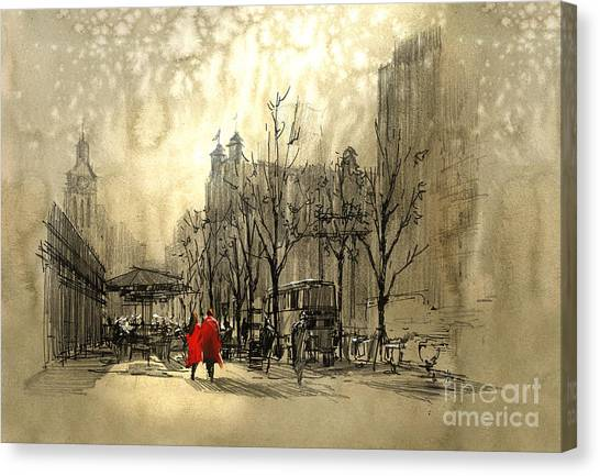Canvas Print featuring the painting Couple In City by Tithi Luadthong