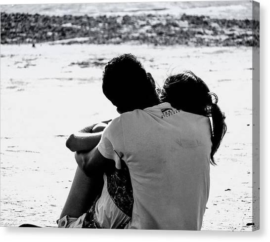 Couple On Beach Canvas Print