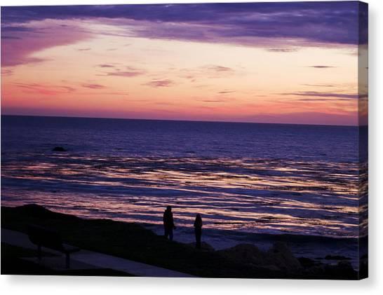 Couple On Shell Beach Canvas Print