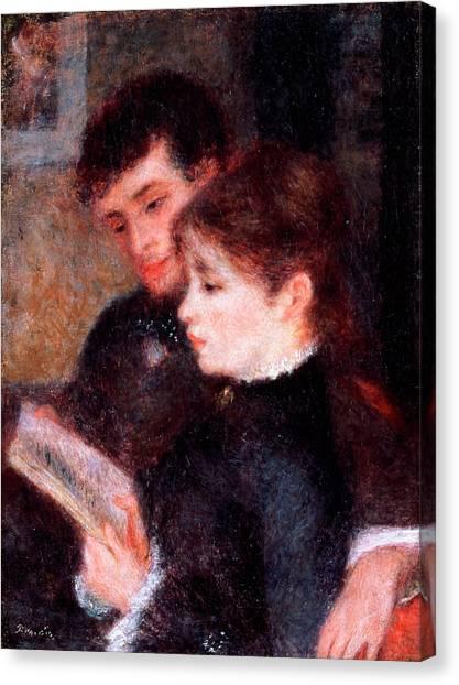 Pierre-auguste Renoir Canvas Print - Couple Reading by Pierre-Auguste Renoir