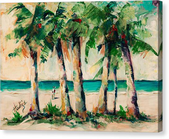 Couple Under Palm Trees Canvas Print by Mary DuCharme