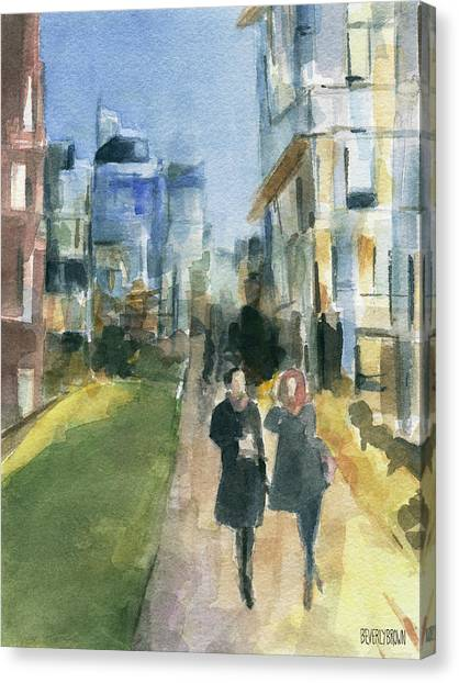 Couple Walking On The New York High Line Canvas Print