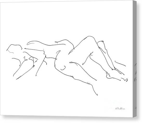 Lines Canvas Print - Couples Erotic Art 4 by Gordon Punt