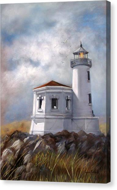 Lighthouse Canvas Print - Couquille River Lighthouse  Bandon Ore. by Lynne Parker