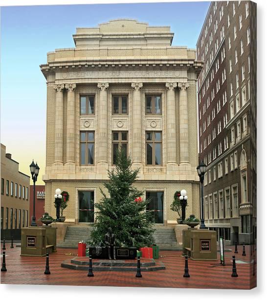 Christmas Tree Canvas Print - Courthouse At Christmas by Greg Joens