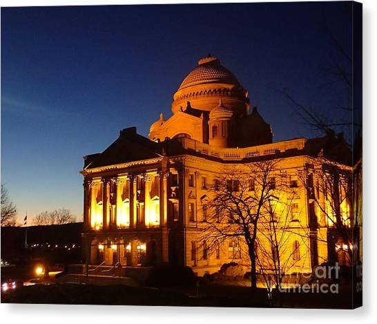 Courthouse At Night Canvas Print