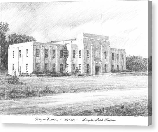Courthouse Four Livingston Parish La Drawing Canvas Print by Mike Theuer