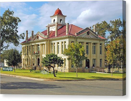Lyndon Johnson Canvas Print - Courthouse In Johnson City by Robert Anschutz