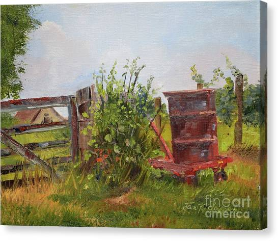 Canvas Print featuring the painting Courtney's Gate - Chateau Meichtry Vineyard - Red Barrel by Jan Dappen