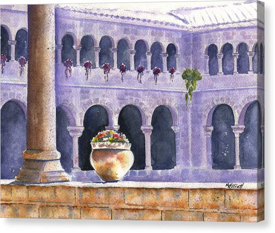 Peruvian Canvas Print - Courtyard In Cuzco by Marsha Elliott