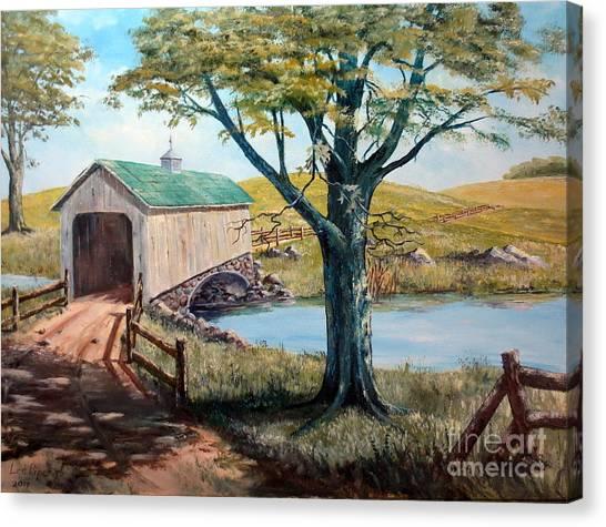Covered Bridge, Americana, Folk Art Canvas Print