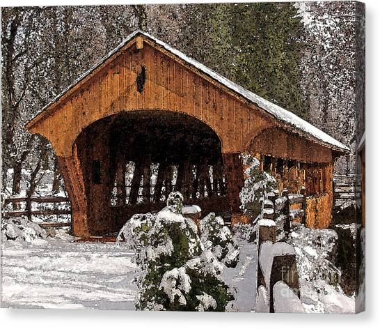Covered Bridge At Olmsted Falls-winter-2 Canvas Print